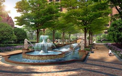 园林小广场铺砖效果图